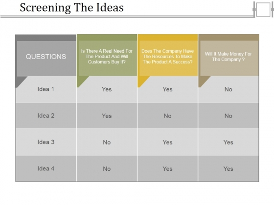 Screening The Ideas Ppt PowerPoint Presentation Pictures Gridlines