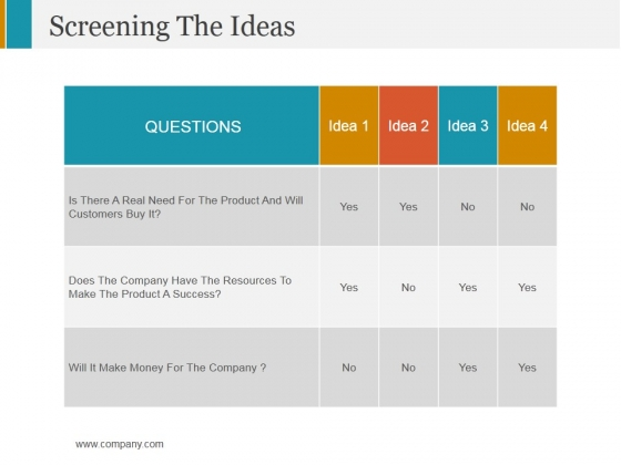Screening The Ideas Ppt PowerPoint Presentation Professional Design Inspiration