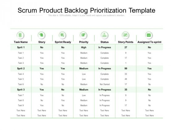 Scrum Product Backlog Prioritization Template Ppt PowerPoint Presentation Inspiration Microsoft