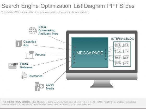 Search Engine Optimization List Diagram Ppt Slides