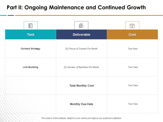 Search Engine Optimization Part II Ongoing Maintenance And Continued Growth Ppt Inspiration Guidelines PDF