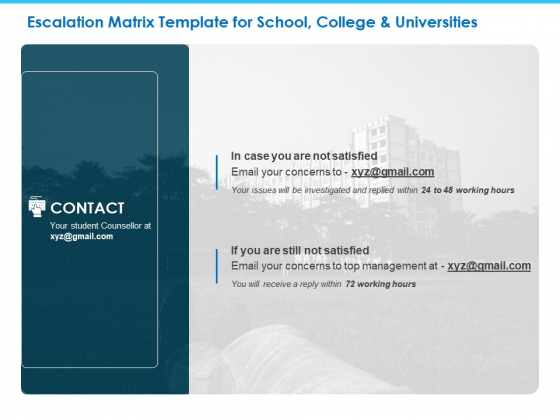 Sector Wise Escalation Grid Escalation Matrix Template For School College And Universities Inspiration PDF