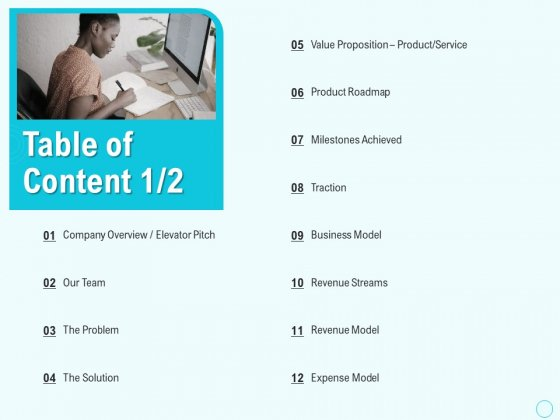 Seed Capital Table Of Content Team Ppt PowerPoint Presentation File Slideshow PDF