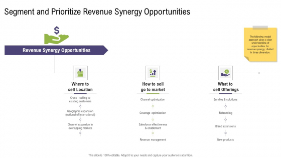 Segment And Prioritize Revenue Synergy Opportunities Mergers And Acquisitions Synergy Ppt Summary Outline PDF