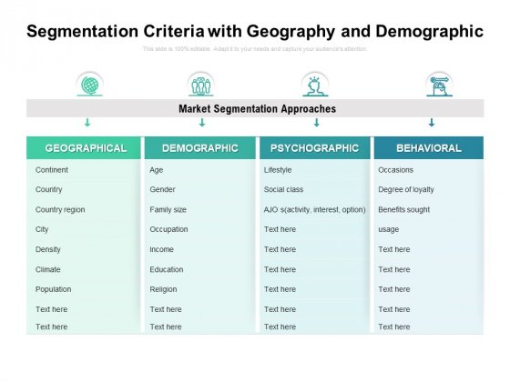 Segmentation Criteria With Geography And Demographic Ppt PowerPoint Presentation Gallery Outline PDF