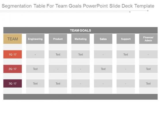 segmentation table for team goals powerpoint slide deck template