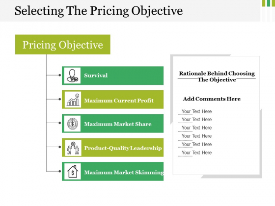 Selecting The Pricing Objective Ppt PowerPoint Presentation Portfolio Design Ideas