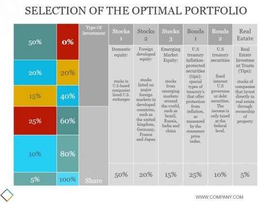Selection Of The Optimal Portfolio Template Ppt PowerPoint Presentation Outline