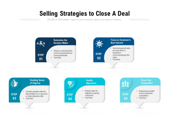 Selling Strategies To Close A Deal Ppt PowerPoint Presentation Show Pictures