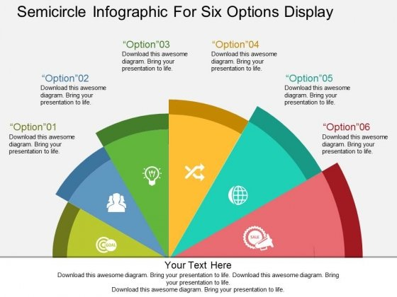 Semicircle Infographic For Six Options Display Powerpoint Templates