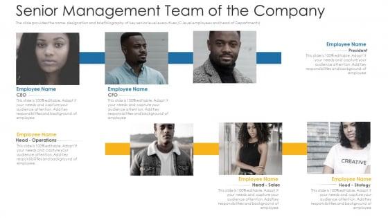 Senior Management Team Of The Company Ppt Summary Background PDF