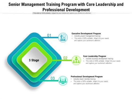 Senior Management Training Program With Core Leadership And Professional Development Ppt PowerPoint Presentation Summary Inspiration PDF