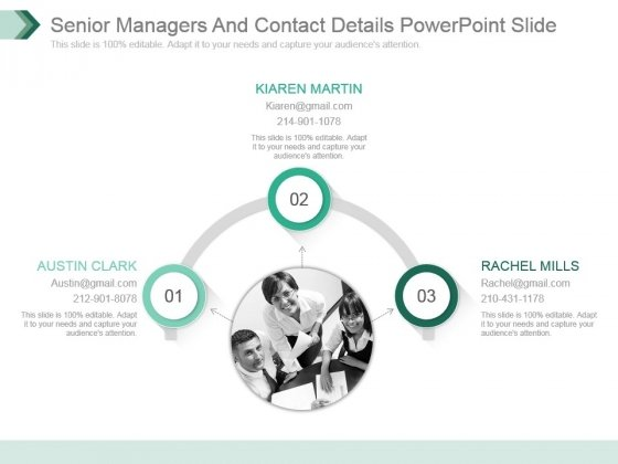 Senior Managers And Contact Details Powerpoint Slide