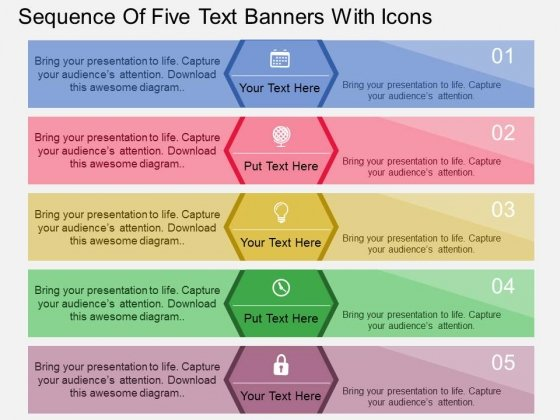 Sequence Of Five Text Banners With Icons PowerPoint Template