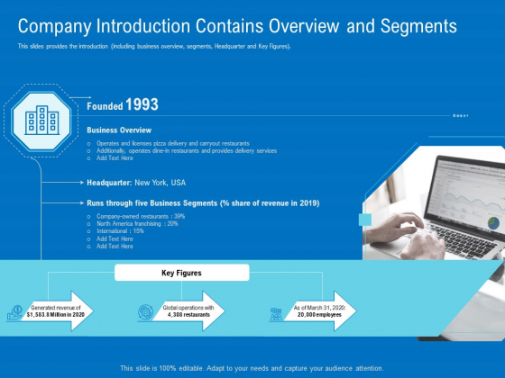 Series B Funding For Startup Capitalization Company Introduction Contains Overview And Segments Formats PDF