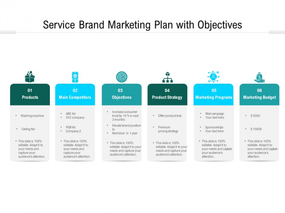 Service Brand Marketing Plan With Objectives Ppt PowerPoint Presentation Gallery Gridlines PDF