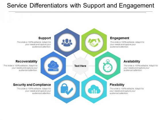 Service Differentiators With Support And Engagement Ppt PowerPoint Presentation Show Vector PDF