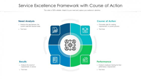 Service Excellence Framework With Course Of Action Ppt PowerPoint Presentation Infographic Template Designs PDF