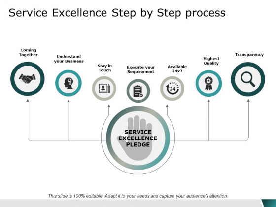 Service Excellence Step By Step Process Ppt Powerpoint Presentation Gallery Icon