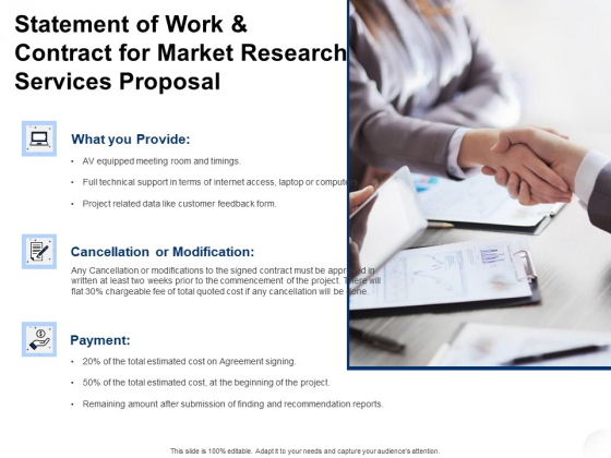 Service Market Research Statement Of Work And Contract For Market Research Services Proposal Infographics PDF