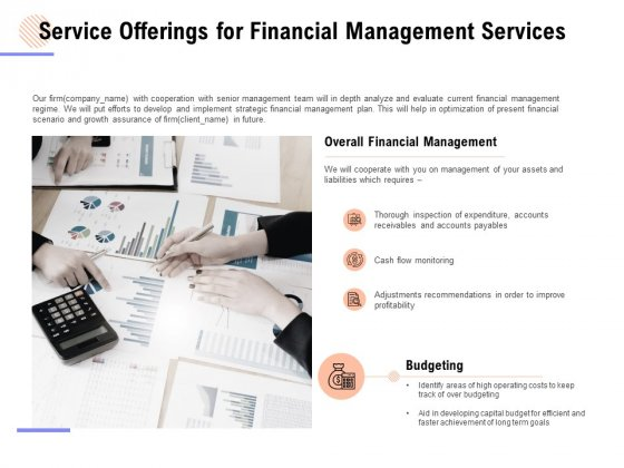 Service Offerings For Financial Management Services Ppt PowerPoint Presentation Layouts Summary