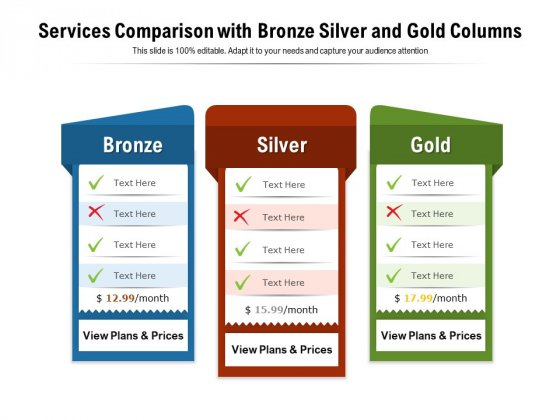 Services Comparison With Bronze Silver And Gold Columns Ppt PowerPoint Presentation Layouts Demonstration PDF
