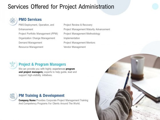 Services Offered For Project Administration Ppt PowerPoint Presentation Gallery Graphics