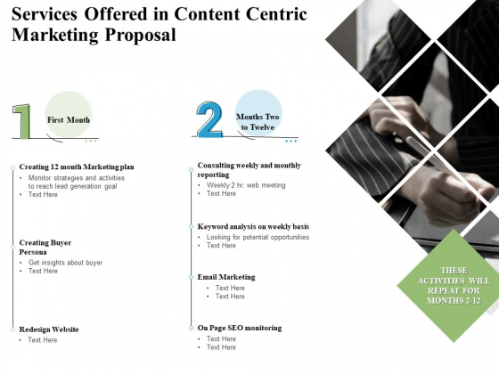 Services Offered In Content Centric Marketing Proposal Ppt PowerPoint Presentation Slides Microsoft