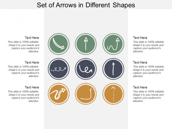 Set Of Arrows In Different Shapes Ppt PowerPoint Presentation Layouts Graphics Tutorials
