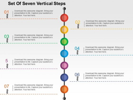 Set Of Seven Vertical Steps Powerpoint Templates
