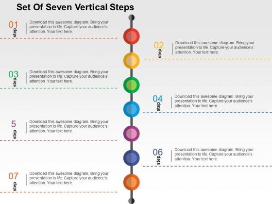 Set Of Seven Vertical Steps Powerpoint Templates