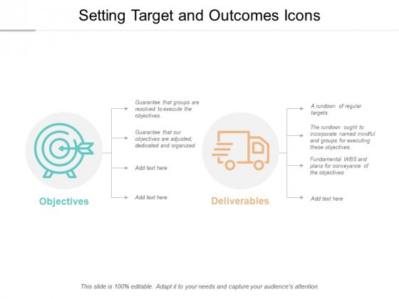 Setting Target And Outcomes Icons Ppt Powerpoint Presentation Layouts Show