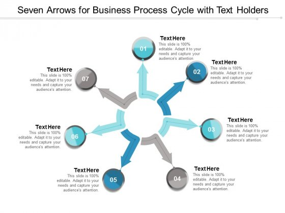 Seven Arrows For Business Process Cycle With Text Holders Ppt Powerpoint Presentation File Templates