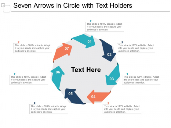 Seven Arrows In Circle With Text Holders Ppt Powerpoint Presentation Ideas Shapes