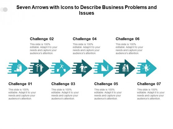 Seven Arrows With Icons To Describe Business Problems And Issues Ppt PowerPoint Presentation Infographics Professional