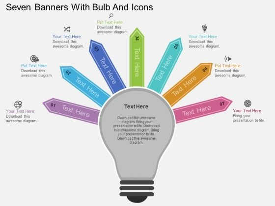 Seven Banners With Bulb And Icons Powerpoint Template