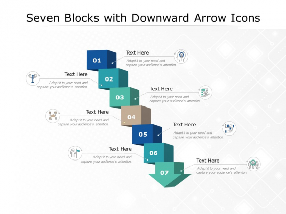 Seven Blocks With Downward Arrow Icons Ppt PowerPoint Presentation Outline Graphics Download