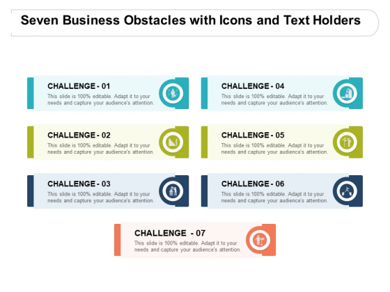 Seven Business Obstacles With Icons And Text Holders Ppt PowerPoint Presentation Model Background Images