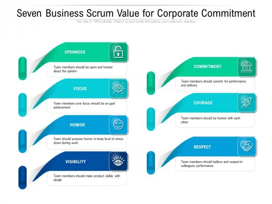 Seven Business Scrum Value For Corporate Commitment Ppt PowerPoint Presentation Show Objects PDF