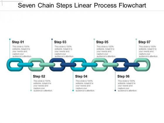 Seven Chain Steps Linear Process Flowchart Ppt PowerPoint Presentation Pictures Influencers