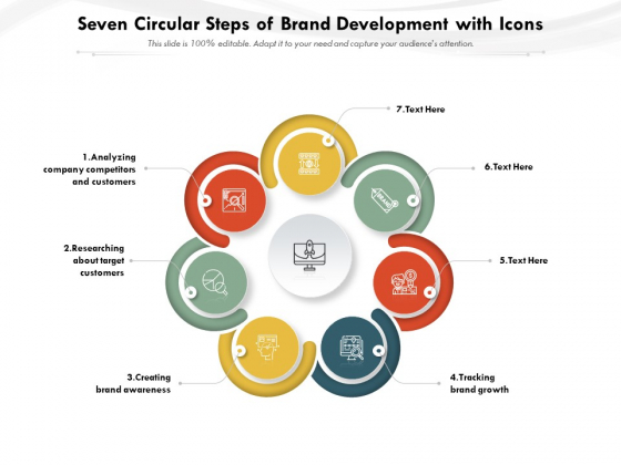 Seven Circular Steps Of Brand Development With Icons Ppt PowerPoint Presentation Gallery Slides PDF