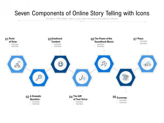 Seven Components Of Online Story Telling With Icons Ppt PowerPoint Presentation Gallery Topics PDF