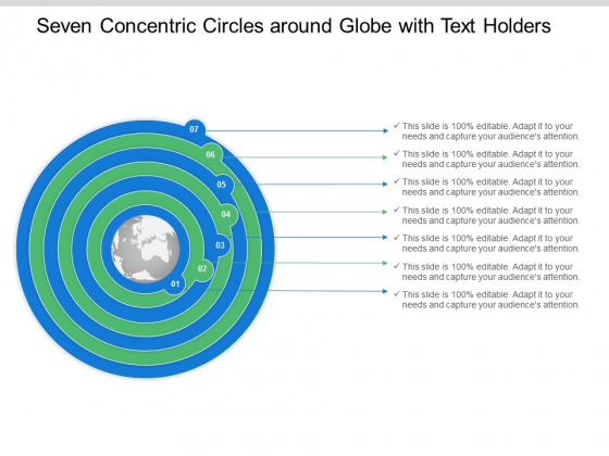 Seven Concentric Circles Around Globe With Text Holders Ppt Powerpoint Presentation Summary Graphics