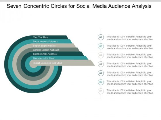 Seven Concentric Circles For Social Media Audience Analysis Ppt PowerPoint Presentation Ideas Model