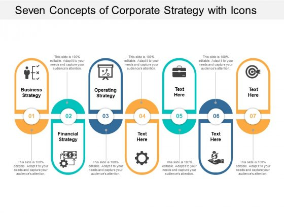 Seven Concepts Of Corporate Strategy With Icons Ppt Powerpoint Presentation Show Icon