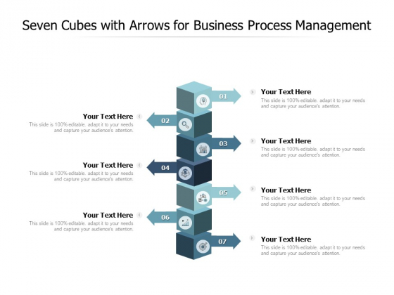 Seven Cubes With Arrows For Business Process Management Ppt PowerPoint Presentation Layouts Grid