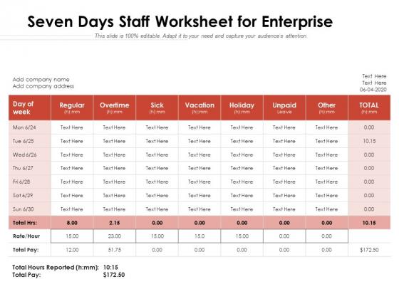 Seven Days Staff Worksheet For Enterprise Ppt PowerPoint Presentation Layouts Portfolio PDF