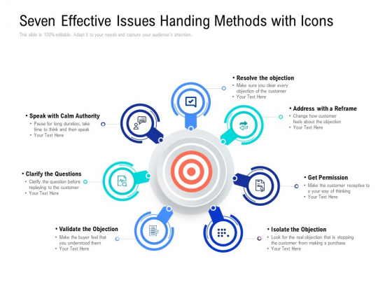 Seven Effective Issues Handing Methods With Icons Ppt PowerPoint Presentation Example 2015