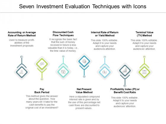 Seven Investment Evaluation Techniques With Icons Ppt PowerPoint Presentation Show Layouts