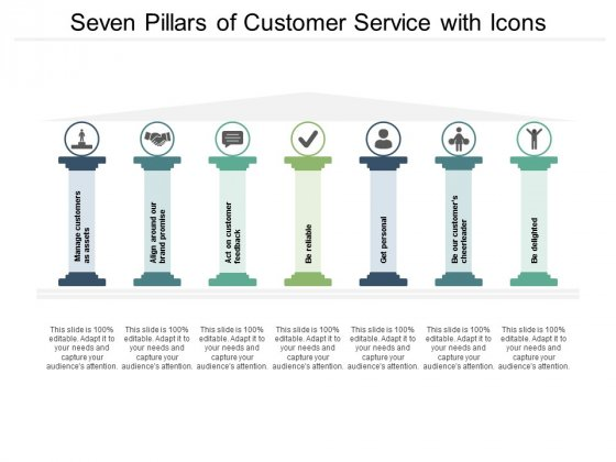 Seven Pillars Of Customer Service With Icons Ppt PowerPoint Presentation Infographics Design Ideas